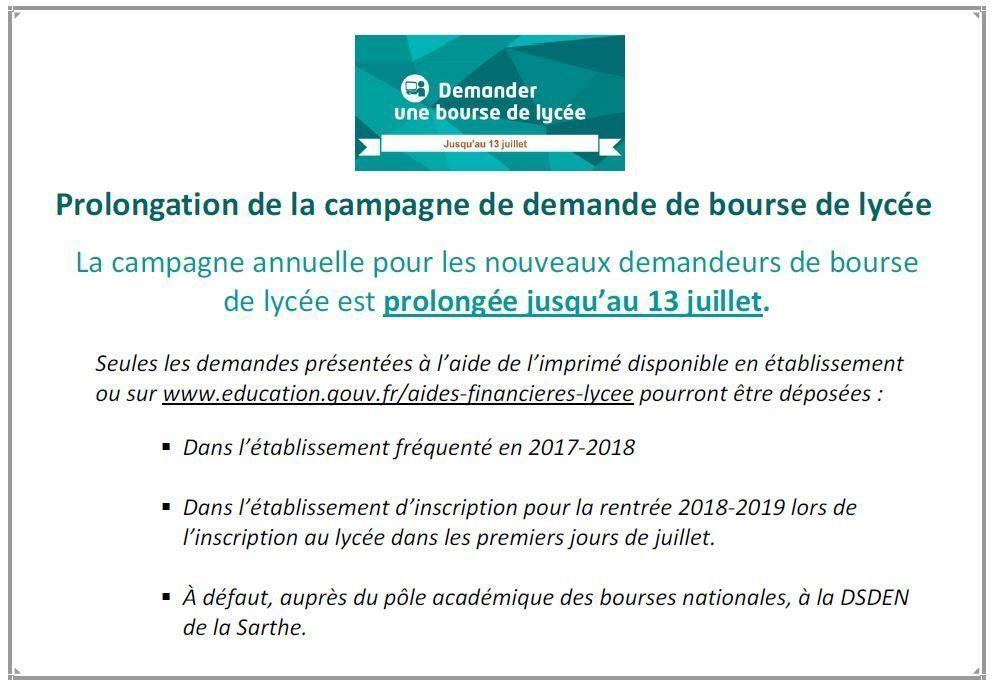 Prolongation Demande De Bourse Lycee Pour L Annee 2018 2019